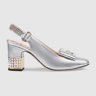 Gucci Leather mid-heel slingback pump with crystalG