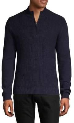Ben Sherman Textured Half-Zip Cotton Sweater