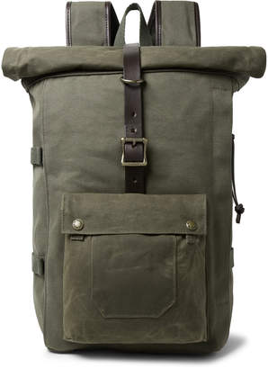 Filson Roll-Top Tin Cloth and Leather-Trimmed Twill Backpack - Men - Green