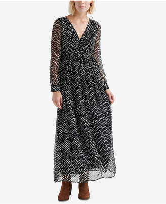 Lucky Brand Dotted Crinkle Maxi Dress