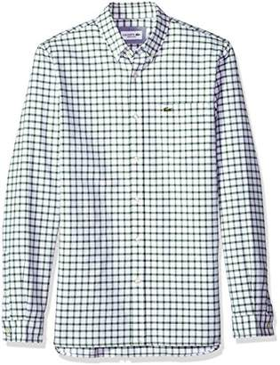 Lacoste Men's Long Sleeve Oxford Tiled Button Down Collar Reg Fit Woven Shirt