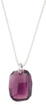 Sterling Silver Swarovski Crystal Amethyst Drop Necklace