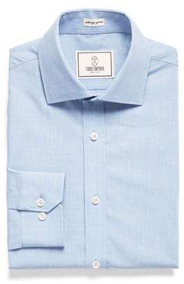 Todd Snyder White Label Spread Collar Dress Shirt in Solid Blue