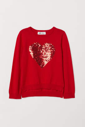 H&M Sweater with Sequined Motif - Red