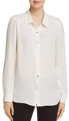 Elie Tahari Macklyn Studded Snap-Front Blouse