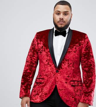 Twisted Tailor super skinny tuxedo blazer in red crushed velvet