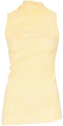 Jil Sander seersucker gingham print cotton blend top