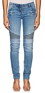Balmain Women's Classic Biker Slim Jeans-Blue