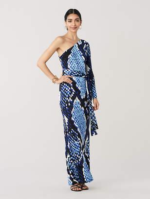Diane von Furstenberg Symbol One-Shoulder Silk-Jersey Maxi Dress