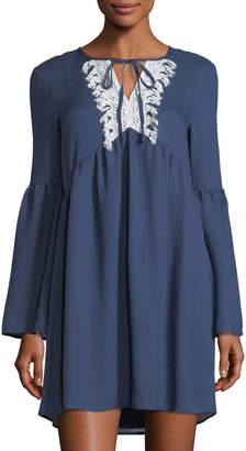ENGLISH FACTORY Lace-Yoke Ruffle Shift Dress