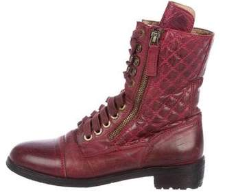 Chanel Leather Combat Boots