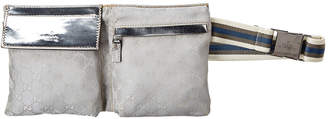 Gucci Silver Gg Canvas & Leather Waist Pouch