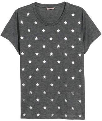 H&M H&M+ Printed Jersey Top - Gray