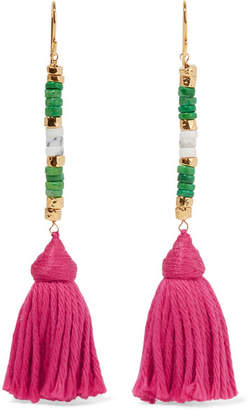 Sioux Gold-plated, Stone And Tassel Earrings - Pink