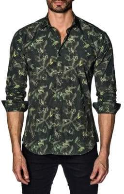 Jared Lang Graphic Cotton Button-Down Shirt