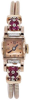 One Kings Lane Vintage 14k Rose Gold Deco Diamond Ruby Watch - Raymond Lee Jewelers