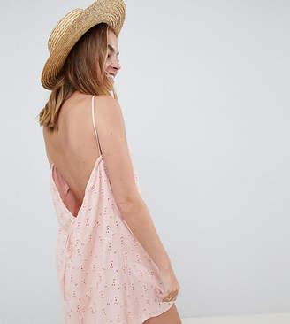 Asos DESIGN Petite low back mini sundress in heart broderie