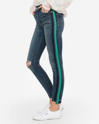 Express High Waisted Side Stripe Stretch Ankle Jean Leggings