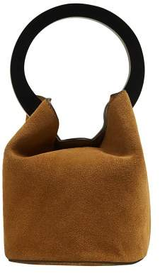 MANGO Wooden handle leather bag