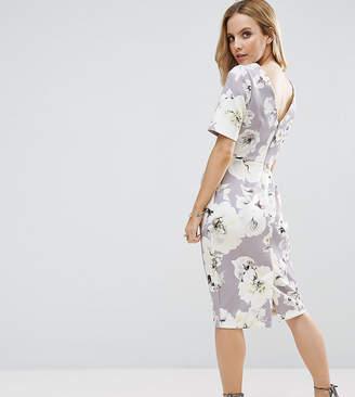 Asos Smart Dress With V Back In Grey Floral Print