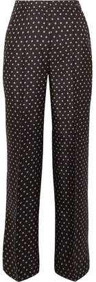 Markus Lupfer Cameron Star Printed Silk-twill Wide-leg Pants - Black