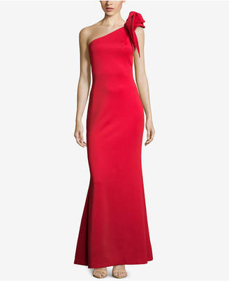 Betsy & Adam One-Shoulder Ruffled Scuba Gown