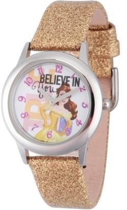 Disney Princess Belle Girls' Stainless Steel Watch, Gold Glitter Strap