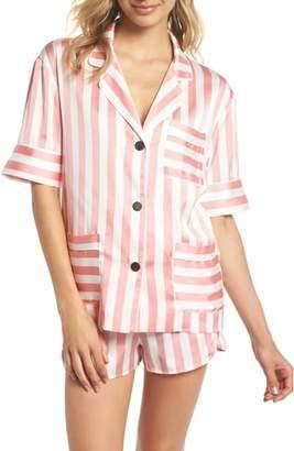 BED TO BRUNCH Short Stripe Satin Pajamas