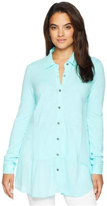 Mod-o-doc Slub Jersey Button Front Drop Waisted Tunic Women's Blouse