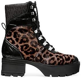 MICHAEL Michael Kors Women's Khloe Shearling-Trim, Leopard-Print Calf Hair & Patent Leather Combat Boots