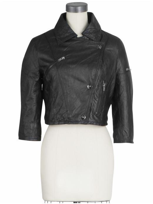 BB Dakota Tatia Cropped Leather Jacket