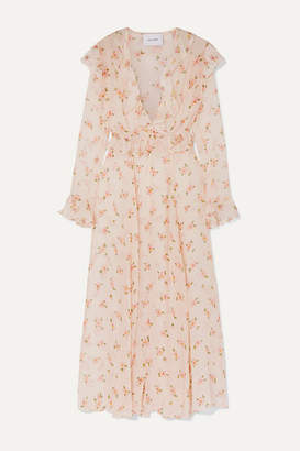 Leone we are Marlowe Ruffled Floral-print Silk-chiffon Robe - Cream
