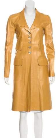 Fendi Longline Leather Coat