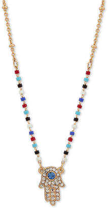 """lonna & lilly Gold-Tone Crystal Hamsa Hand Beaded Pendant Necklace, 16"""" + 3"""" extender"""