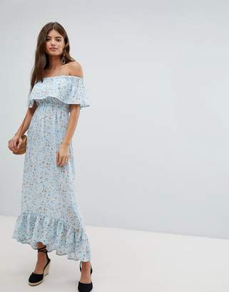 Missguided Bardot Floral Maxi Dress