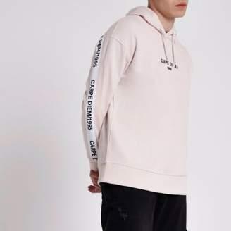 River Island Mens Pink 'carpe diem' print hoodie