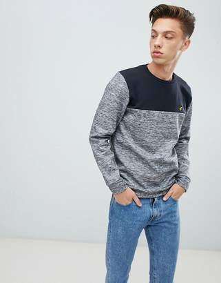 Lyle & Scott logo crew neck color block sweat in gray