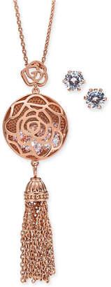 "Charter Club Rose Gold-Tone Crystal Flower Chain Tassel Pendant Necklace & Stud Earrings Set, 15"" + 3"" extender"