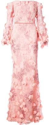 off-the-shoulder floral gown