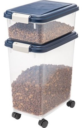 IRIS USA IRIS Airtight Pet Food / Treat Storage Container Combo, Blue