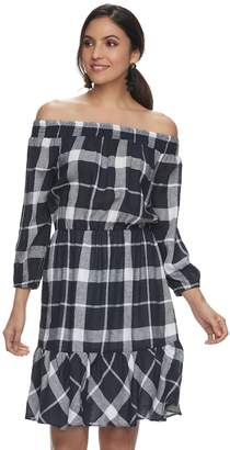 Blend of America Women's Indication Linen Plaid Off-the-Shoulder Dress