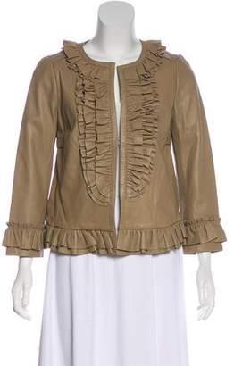 Tory Burch Leather Ruffled Jacket4