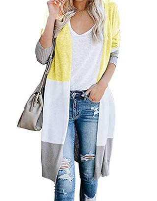 KIRUNDO Women's Open Front Long Cardigan Strip Color Block Long Sleeves Lightweight Knit Fall Outwear Sweater Coats (