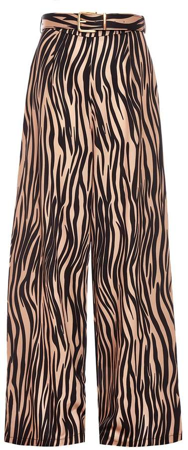 Stone and Black Zebra Print Trousers