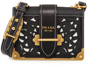 Prada Laser-Cut Cahier Shoulder Bag $3,080 thestylecure.com