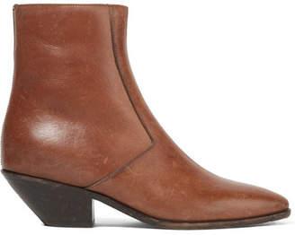 Saint Laurent West Leather Ankle Boots - Tan