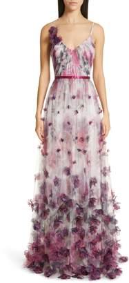 Marchesa 3D Floral Tulle Evening Dress