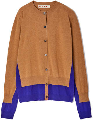 Marni Color-Block Long-Sleeve Cashmere Cardigan