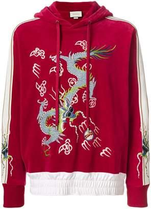 Gucci dragon appliqué velvet hoodie