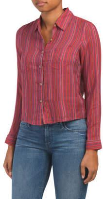Juniors Long Sleeve Striped Woven Shirt